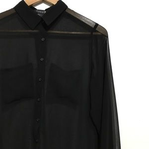 { Forever 21 } Sheer Hi Low Button Down Blouse Top